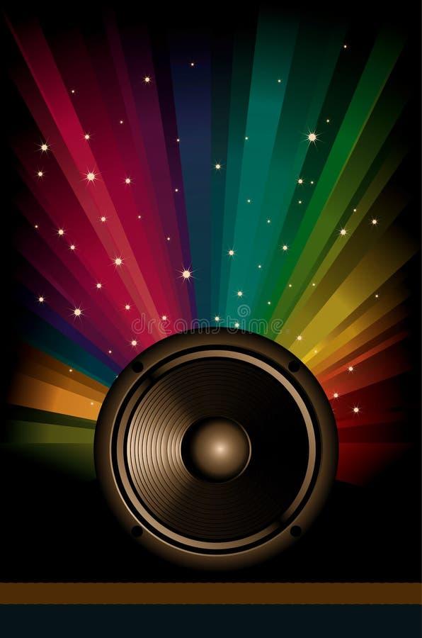 Fond coloré de musique d'arc-en-ciel pour des aviateurs de disco illustration stock