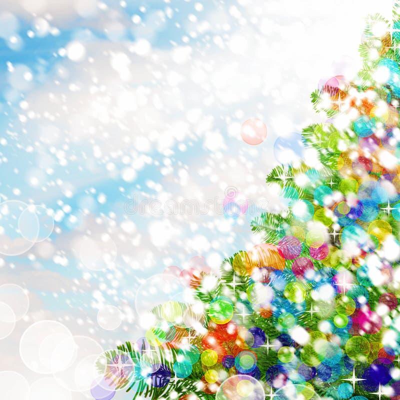 Download Fond Coloré De Noël Arbre De Noël, Neige Et Scintillements Photo stock - Image du décoration, conception: 77151096