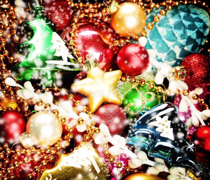 Fond coloré de Noël Décoration de Noël et d'an neuf image libre de droits