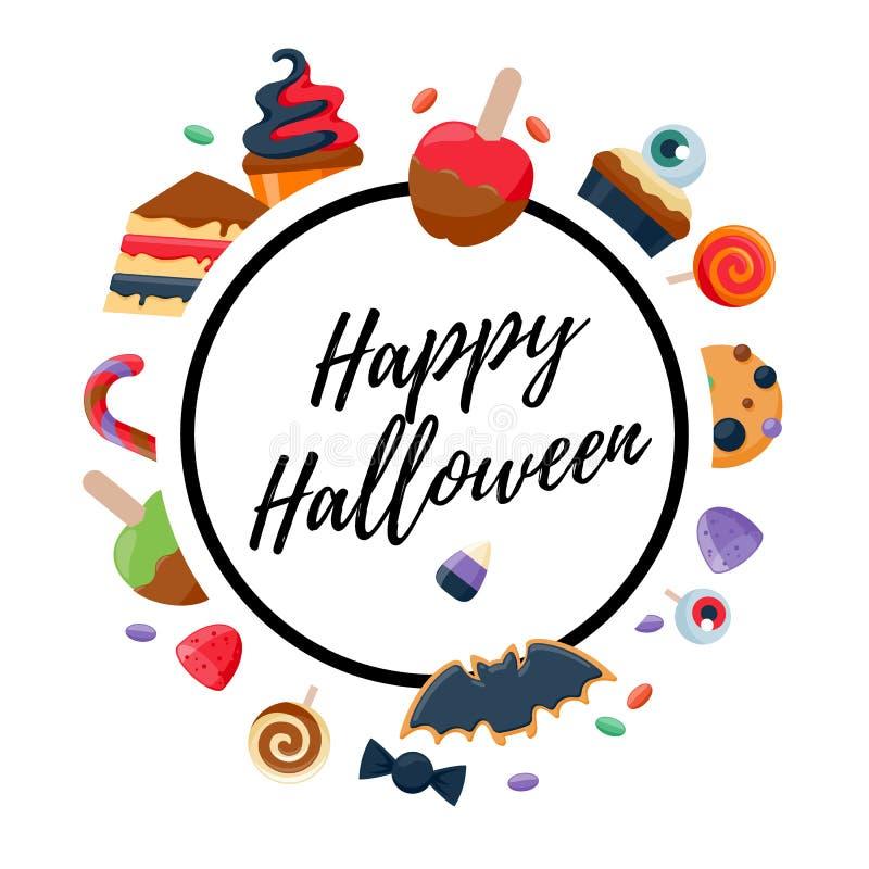 Fond coloré de partie de bonbons à Halloween illustration de vecteur