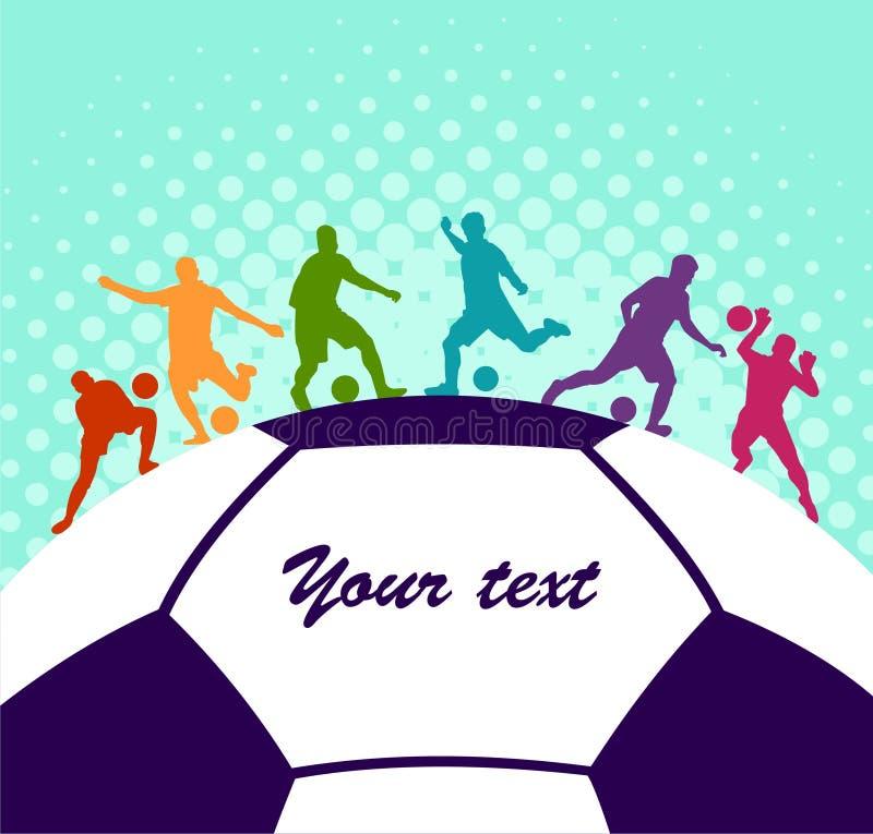 Fond coloré de silhouette de ballon de football de joueur de football Affiche coloful de carte de bannière de conception d'illust illustration libre de droits