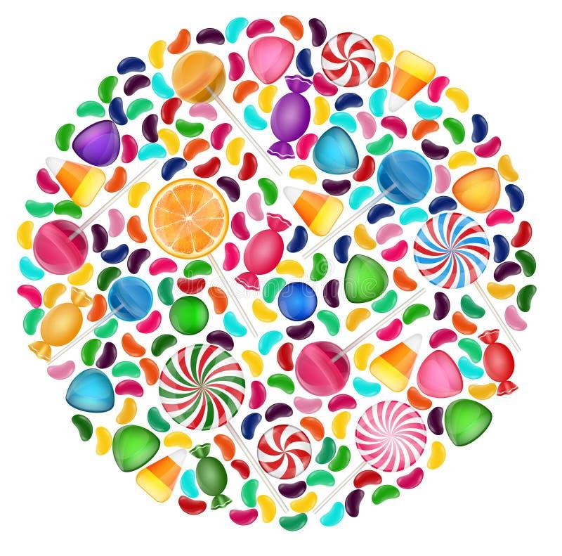 Fond coloré de sucrerie avec le cercle de concept illustration de vecteur