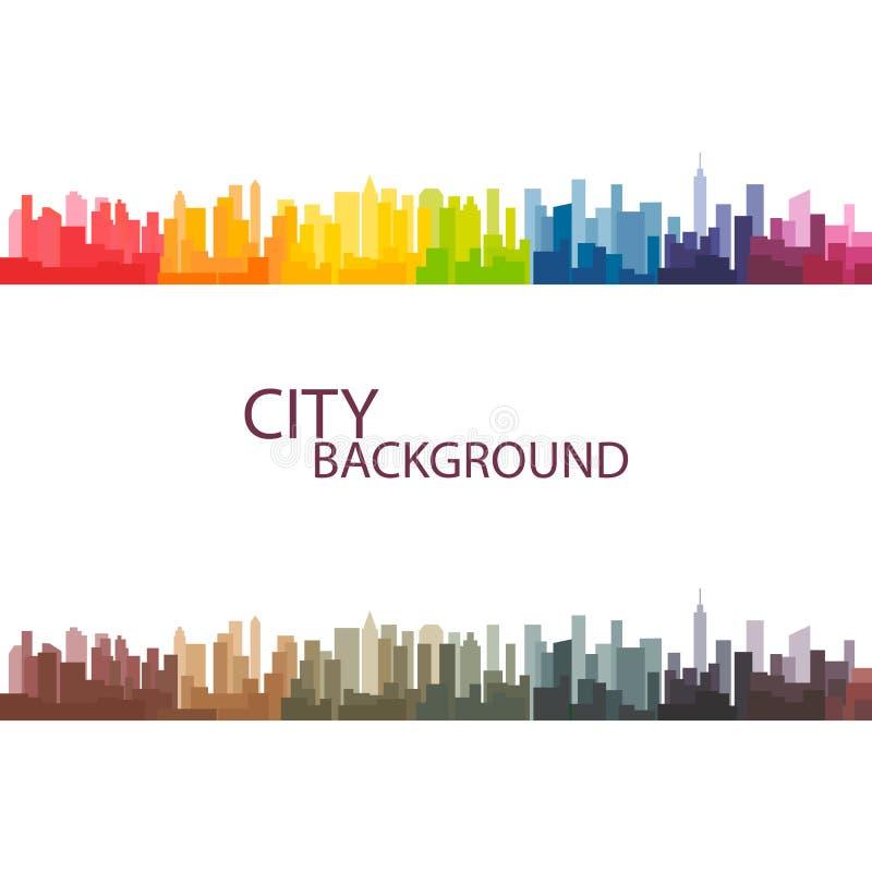 Fond coloré de vecteur de ville de panorama illustration stock