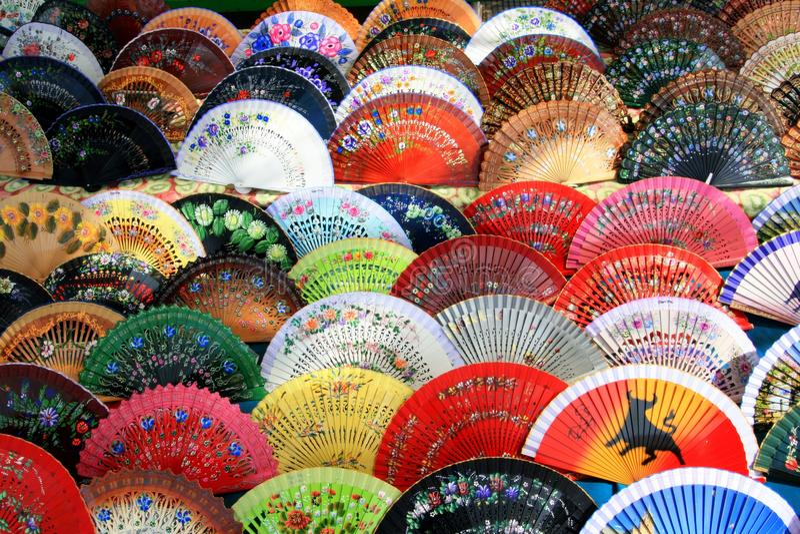 Fond coloré espagnol de ventilateur, Andalousie, Espagne image libre de droits