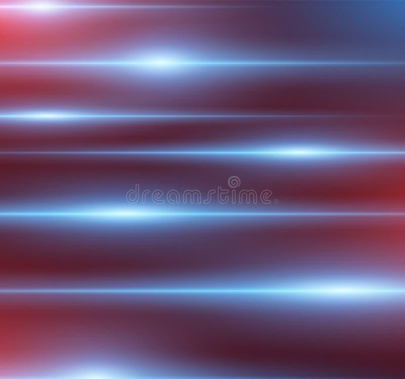 Fond coloré et futuriste abstrait avec des effets de lumière bleue et rouge Flashes abstraits Illustration de vecteur illustration libre de droits