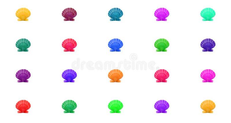 Fond coloré lumineux de modèle des coquilles multicolred dans la grille photo stock