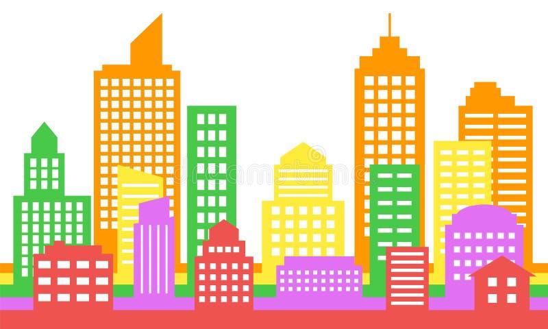 Fond coloré lumineux de paysage urbain, architecture moderne illustration stock