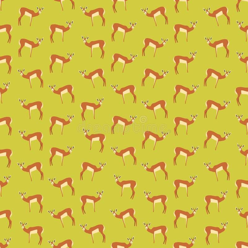 Fond coloré sans couture fait d'antilopes dans la conception plate illustration libre de droits