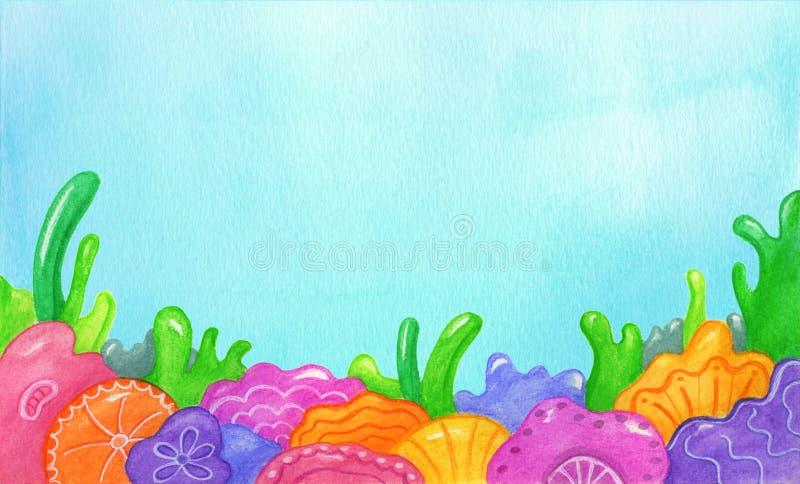 Fond coloré sous-marin avec des fleurs et des coraux de la mer bleue illustration de vecteur