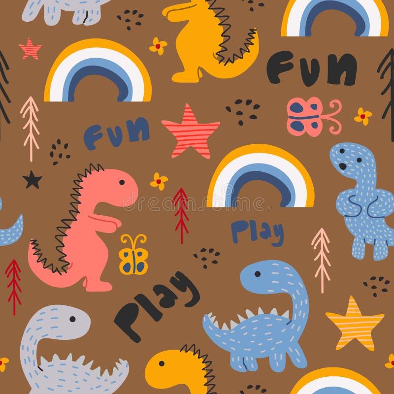 Fond coloré tiré par la main de modèle sans couture drôle de dinosaure illustration de vecteur
