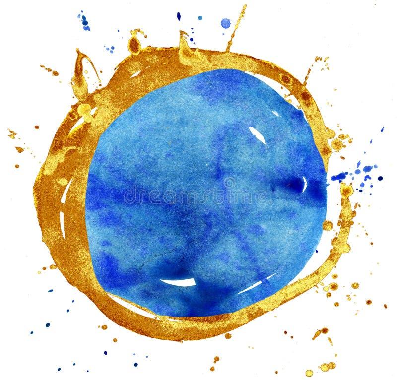 Fond color? d'aquarelle Cercle de bleu et d'or illustration libre de droits