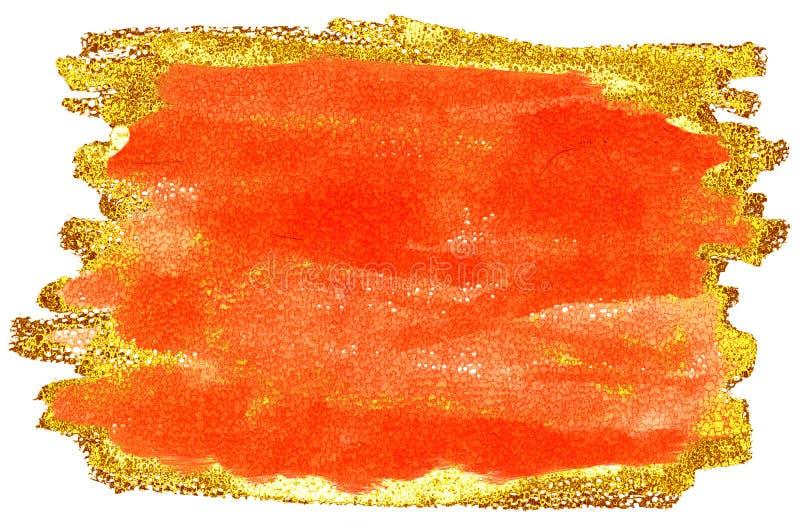 Fond color? d'aquarelle Courses de brosse d'orange et d'or illustration libre de droits