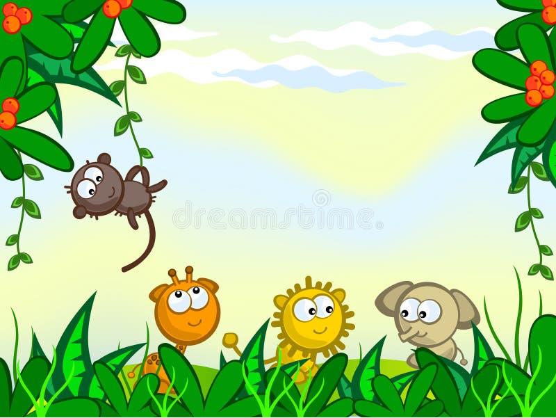 Fond comique de jungle illustration stock