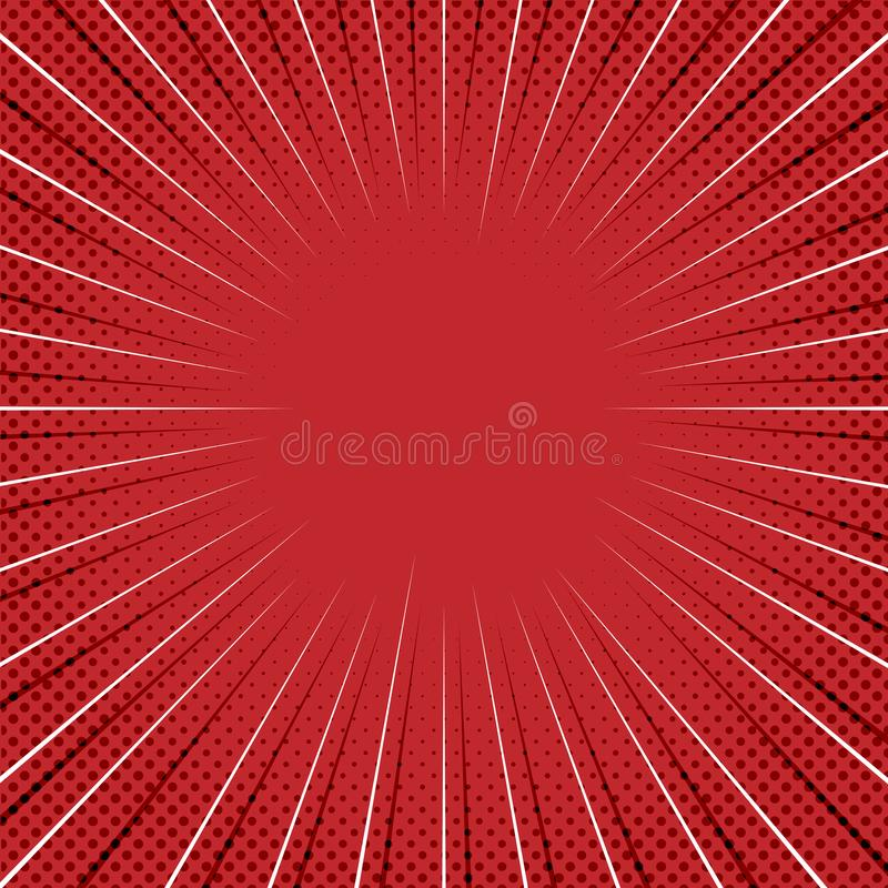 Fond comique rouge avec les lignes de bourdonnement et le Dots Pattern tramé illustration de vecteur