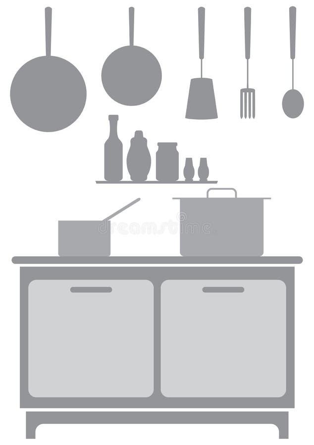 Fond commercial de cuisine aux nuances du gris illustration stock