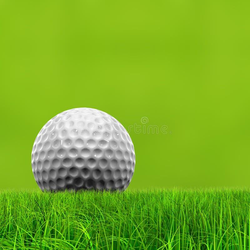 Fond conceptuel vert de l'herbe 3d avec une boule de golf blanche photos libres de droits