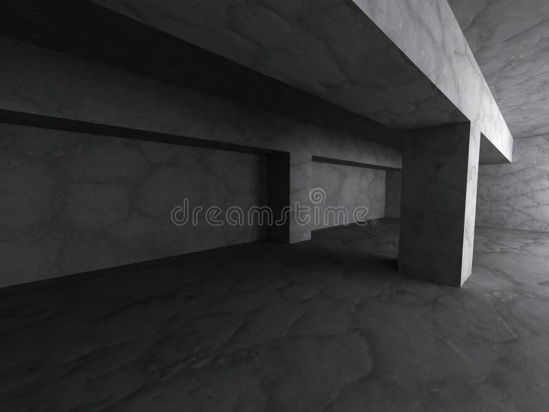 Fond concret abstrait sombre vide d'intérieur de pièce de sous-sol illustration stock