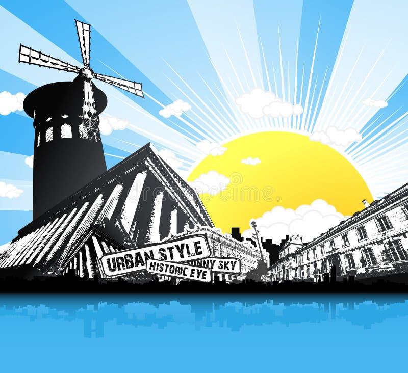 fond construisant Paris historique rétro illustration libre de droits