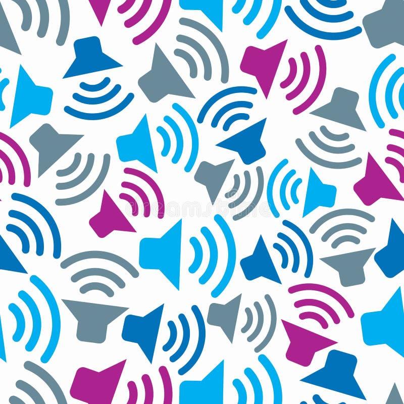 Fond continuel avec des symboles colorés de podcast Vec sans couture illustration de vecteur