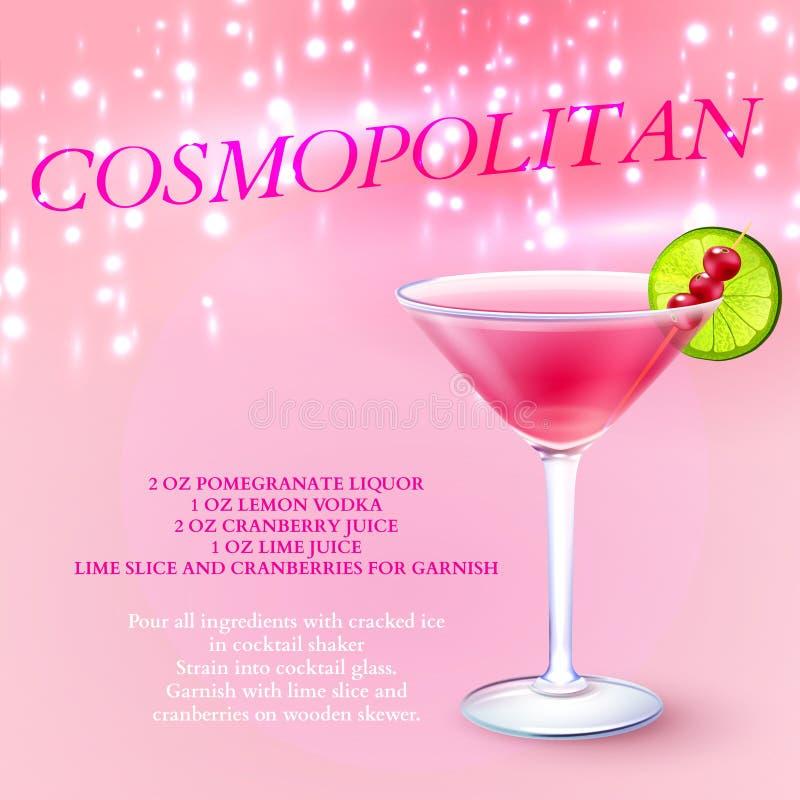 Fond cosmopolite de recette de cocktail illustration libre de droits