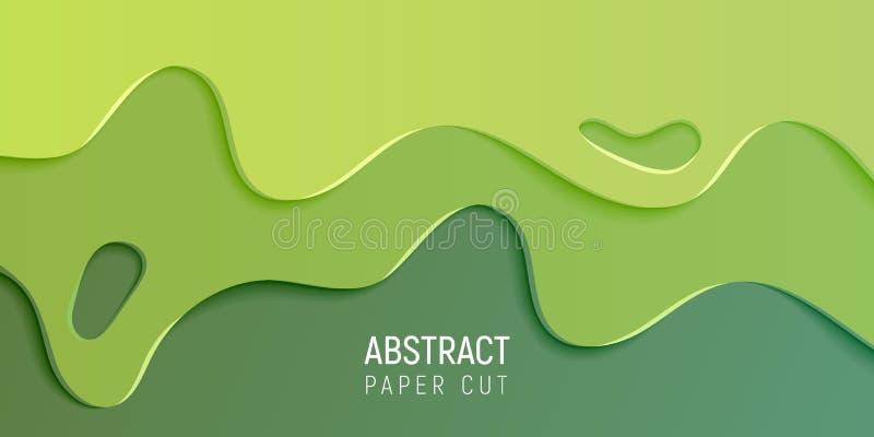 Fond coupé de papier de boue de résumé Bannière avec le fond abstrait de boue avec des vagues de coupe de Livre vert Vecteur illustration libre de droits
