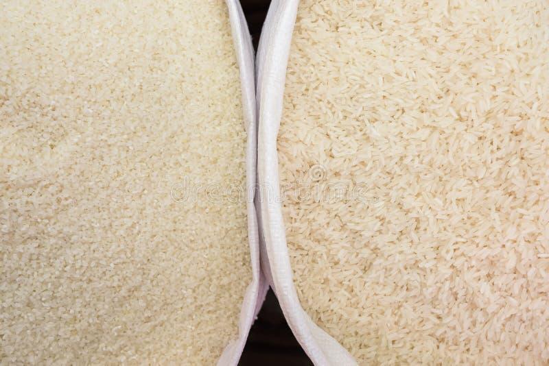 Fond court et à grain long de vue supérieure de riz photo stock