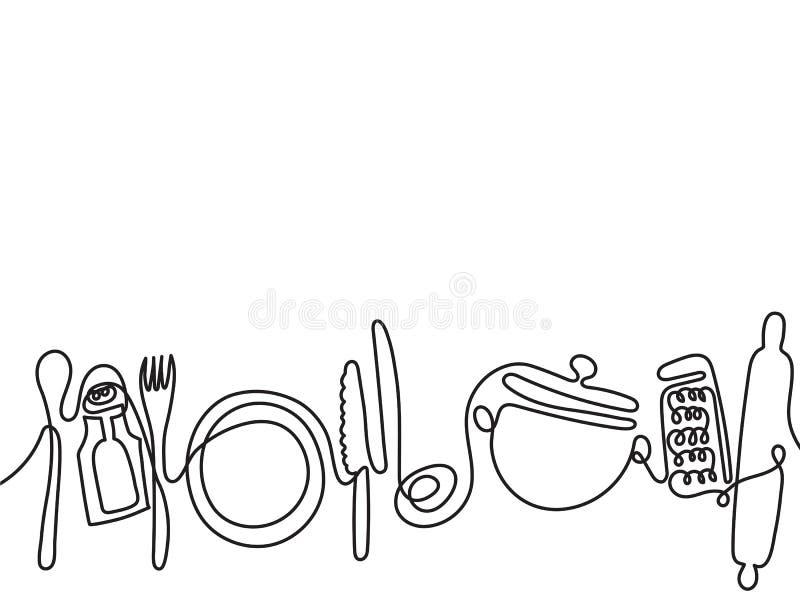 Fond couverts de schéma Un dessin au trait de différents ustensiles de cuisine Vecteur illustration libre de droits