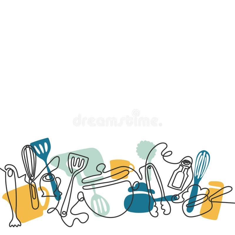 Fond couverts de sch?ma Un dessin au trait de diff?rents ustensiles de cuisine Vecteur illustration de vecteur