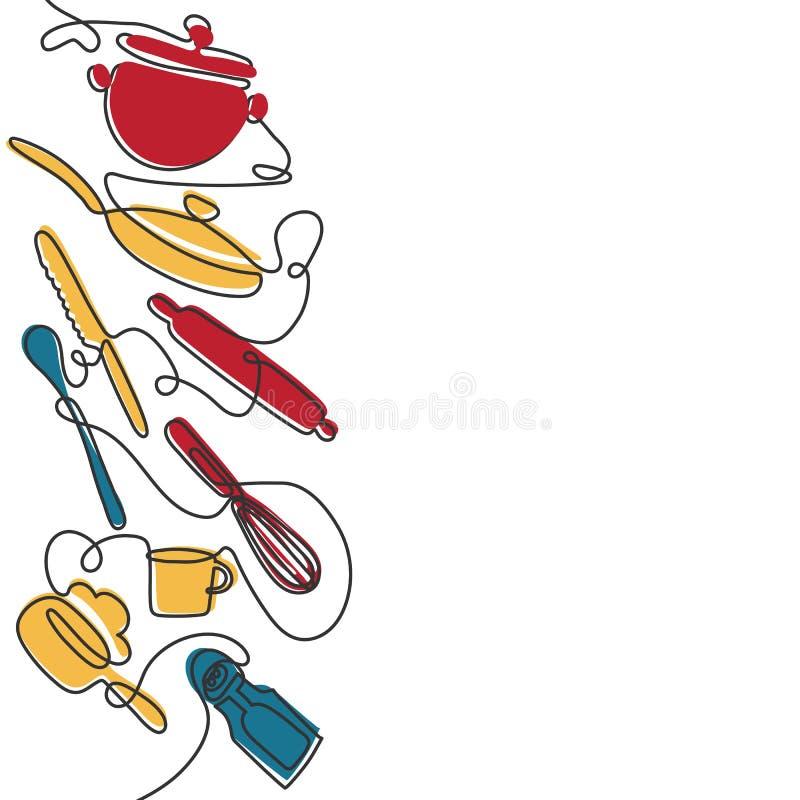 Fond couverts de sch?ma Un dessin au trait de diff?rents ustensiles de cuisine Vecteur illustration libre de droits