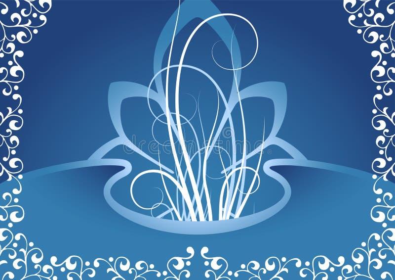 Fond créateur avec les éléments floraux dans la couleur bleue, vecteur i illustration libre de droits