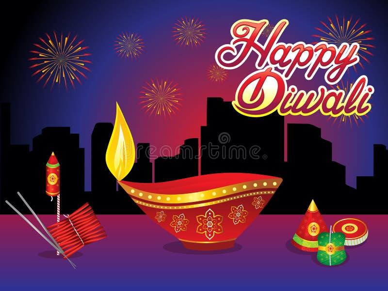 Fond créatif abstrait de nuit de diwali illustration libre de droits
