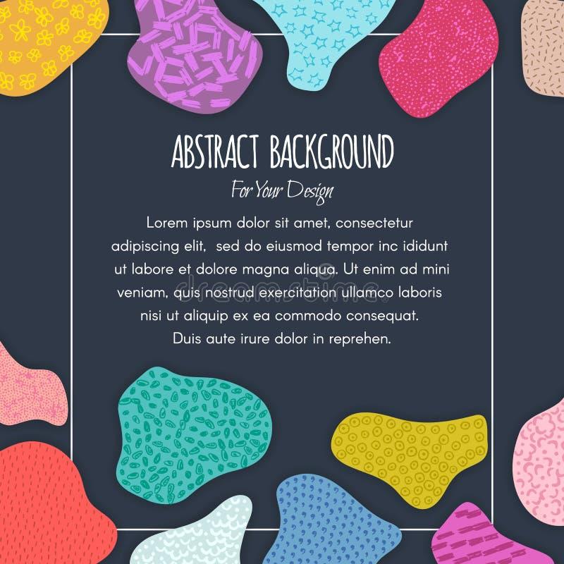 Fond créatif coloré avec des formes abstraites tirées par la main Chiffres texturisés Conception matérielle applique illustration stock