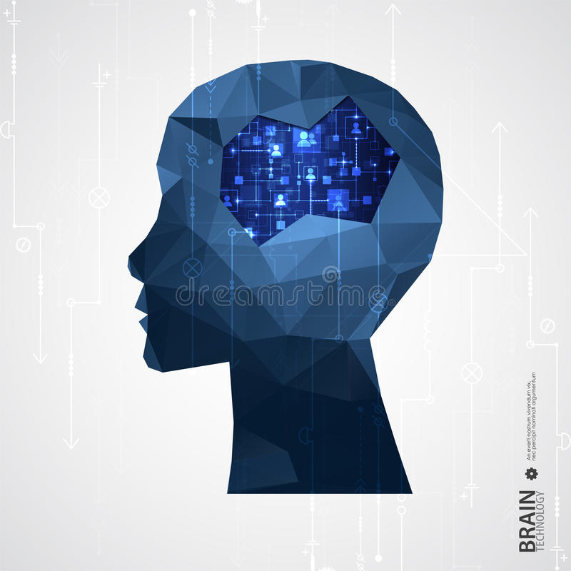 Fond créatif de concept de cerveau avec la grille triangulaire illustration libre de droits