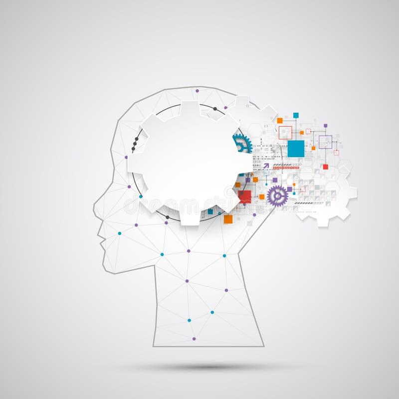 Fond créatif de concept de cerveau avec la grille triangulaire Artifici illustration stock