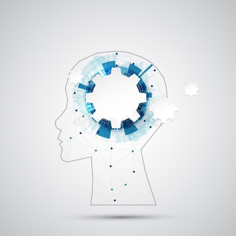 Fond créatif de concept de cerveau avec la grille triangulaire Artifici illustration libre de droits