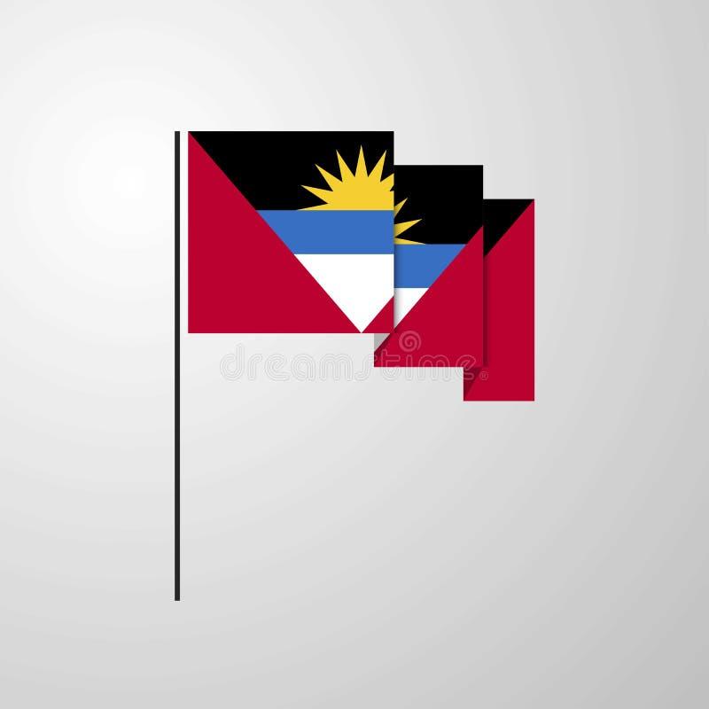 Fond créatif de ondulation de drapeau de l'Antigua-et-Barbuda illustration stock