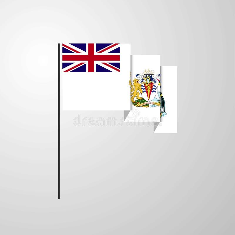 Fond créatif de ondulation de drapeau de territoire antarctique britannique illustration de vecteur
