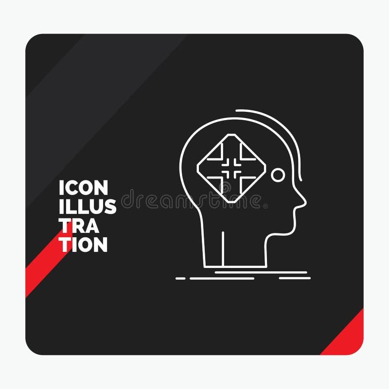 Fond créatif rouge et noir de présentation pour avancé, cyber, avenir, humain, ligne icône d'esprit illustration libre de droits