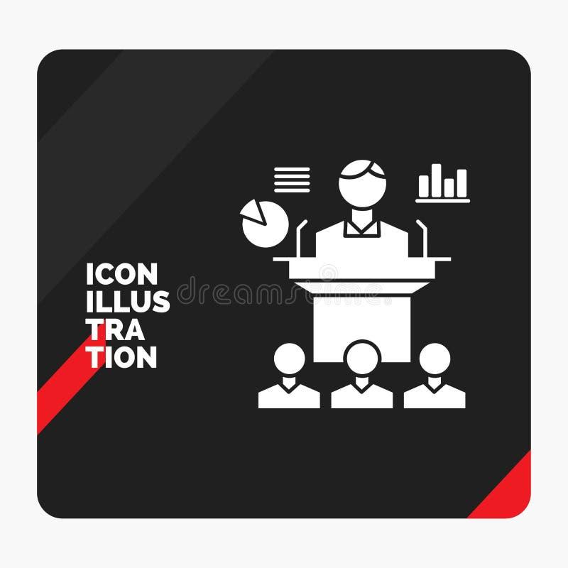 Fond créatif rouge et noir de présentation pour des affaires, conférence, convention, présentation, icône de Glyph de séminaire illustration stock