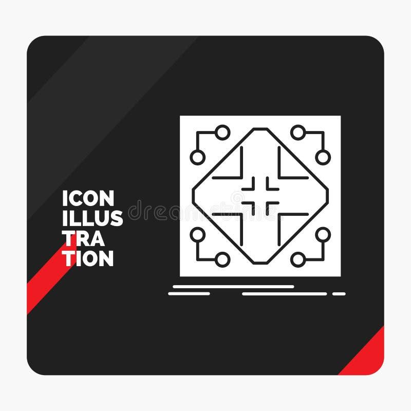 Fond créatif rouge et noir de présentation pour des données, infrastructure, réseau, matrice, icône de Glyph de grille illustration libre de droits