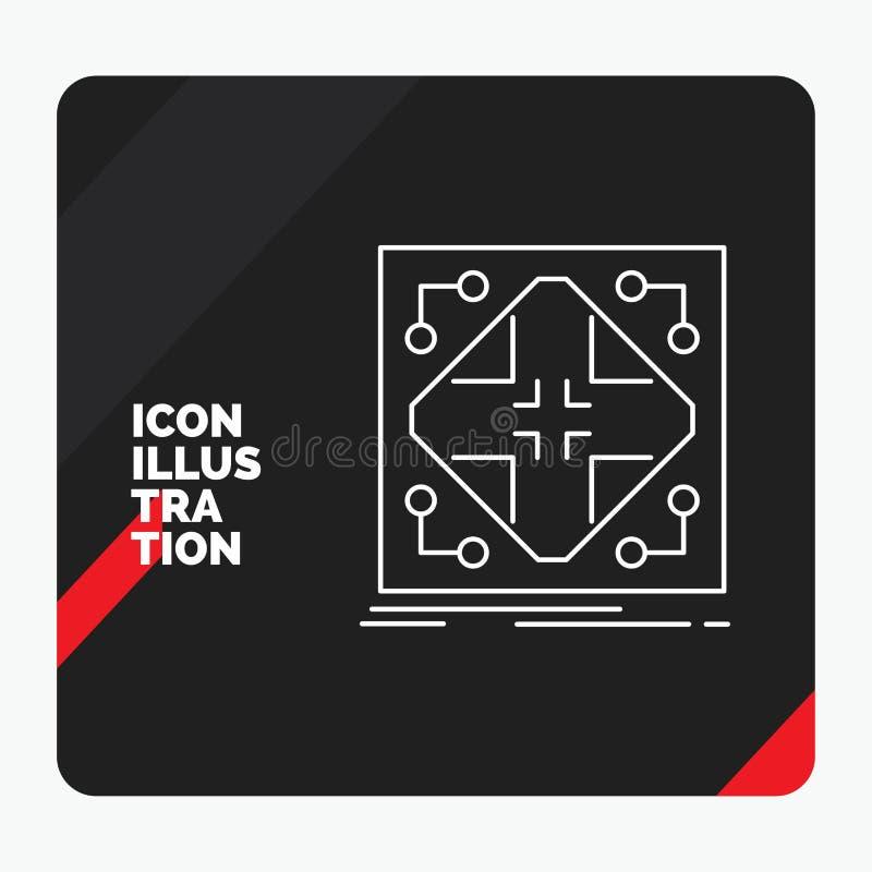 Fond créatif rouge et noir de présentation pour des données, infrastructure, réseau, matrice, ligne de grille icône illustration de vecteur