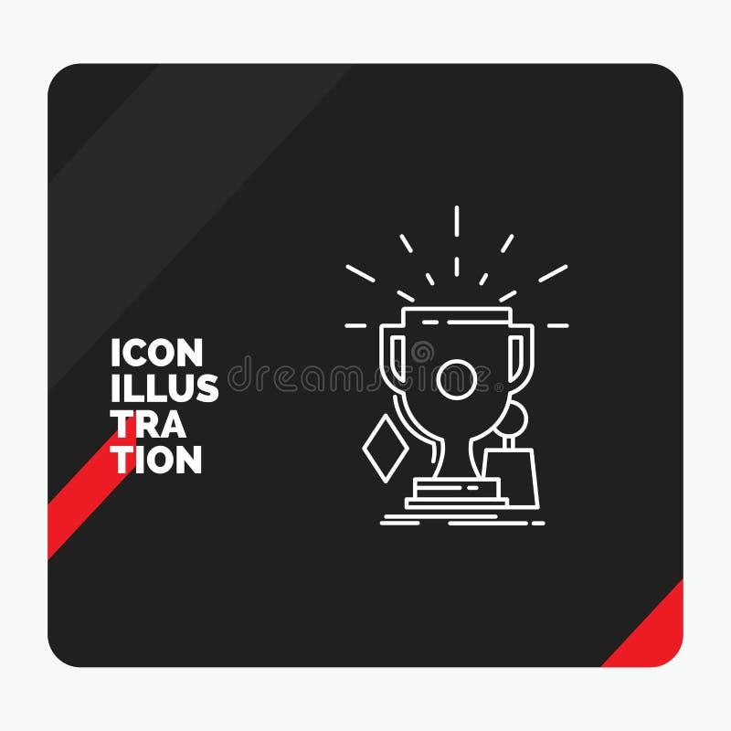 Fond créatif rouge et noir de présentation pour des récompenses, jeu, sport, trophées, ligne icône de gagnant illustration de vecteur