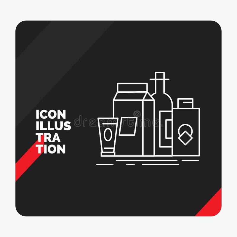 Fond créatif rouge et noir de présentation pour empaqueter, stigmatisant, vente, produit, ligne icône de bouteille illustration stock