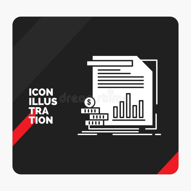 Fond créatif rouge et noir de présentation pour l'économie, finances, argent, l'information, icône de Glyph de rapports illustration de vecteur