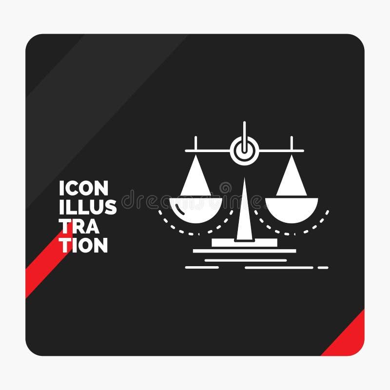 Fond créatif rouge et noir de présentation pour l'équilibre, décision, justice, loi, icône de Glyph d'échelle illustration libre de droits