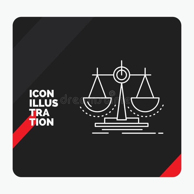 Fond créatif rouge et noir de présentation pour l'équilibre, décision, justice, loi, ligne icône d'échelle illustration stock