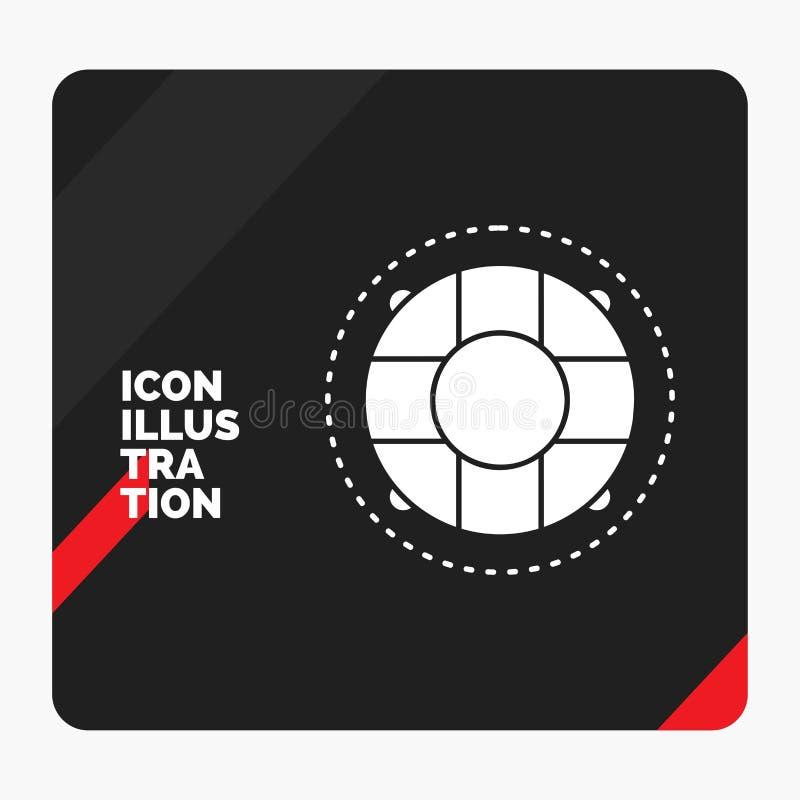 Fond créatif rouge et noir de présentation pour l'aide, la vie, bouée de sauvetage, sauveteur, icône de Glyph de conservateur illustration libre de droits
