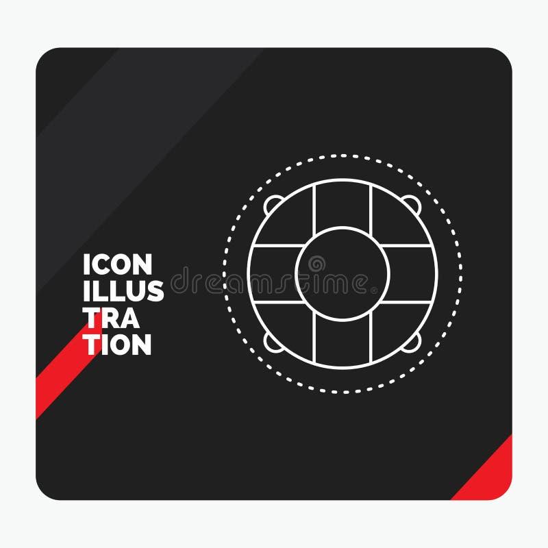 Fond créatif rouge et noir de présentation pour l'aide, la vie, bouée de sauvetage, sauveteur, ligne icône de conservateur illustration de vecteur