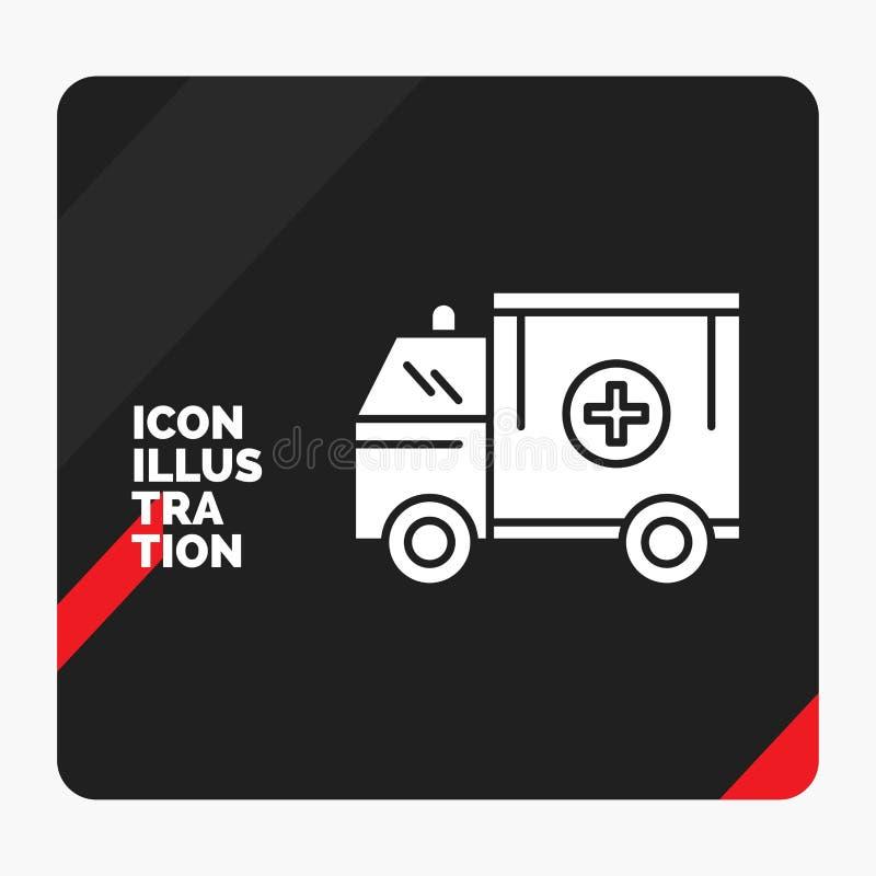 Fond créatif rouge et noir de présentation pour l'ambulance, camion, médical, aide, van Glyph Icon illustration de vecteur