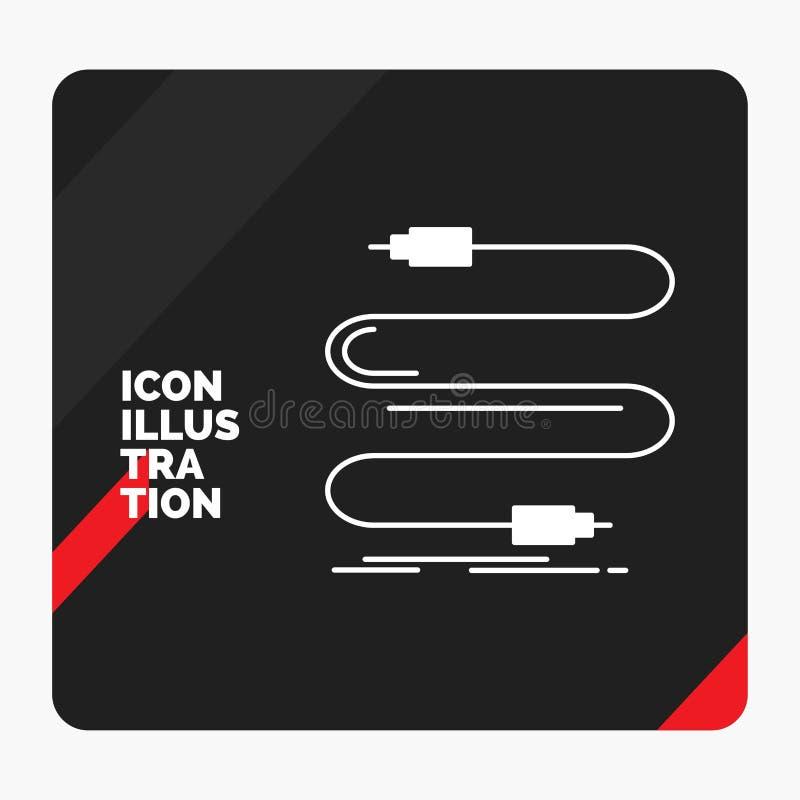 Fond créatif rouge et noir de présentation pour l'audio, câble, corde, bruit, icône de Glyph de fil illustration de vecteur